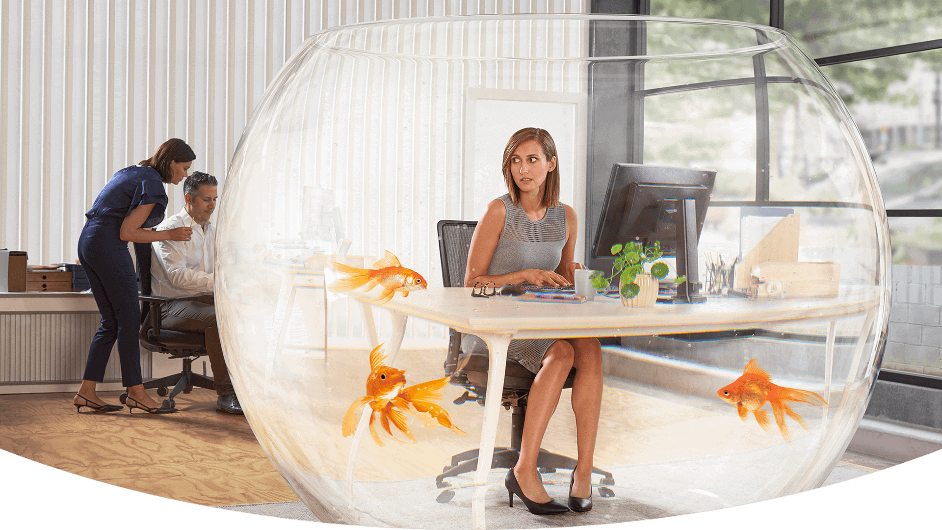 Woman in a fish bowl